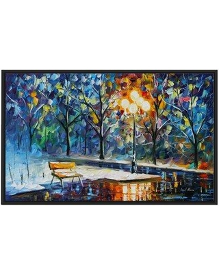 "Winston Porter 'Winter Night' Framed Oil Painting Print on Wrapped Canvas BF022896 Size: 21.5"" H x 33.5"" W x 2"" D"