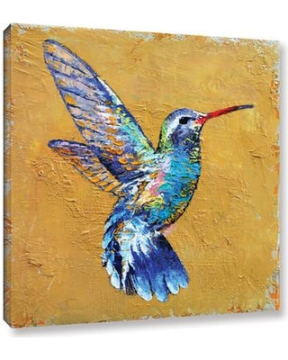 "Bay Isle Home Turquoise Hummingbird Painting Print on Wrapped Canvas BAYI6162 Size: 36"" H x 36"" W x 2"" D"