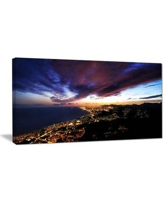 """DesignArt Barcelona Skyline Panorama Photographic Print on Wrapped Canvas PT10986- Size: 16"""" H x 32"""" W x 1"""" D"""