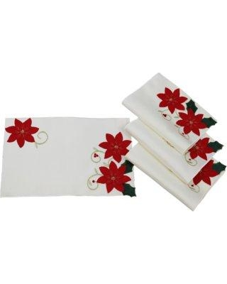 "The Holiday Aisle Puma Poinsettias Holiday Christmas Decorative 18"" Placemat W001295710 Color: Ivory"