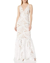 Dress the Population Women's Plunging Lace Maxi Dress Fitted Sleeveless Gown, White, XS