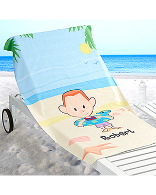 Summer Family Characters Personalized 30x60 Beach Towel