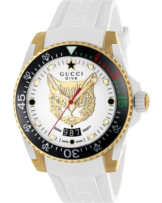 0b8f1189185 Amazing Savings on Gucci Diver Cat Rubber Strap Watch