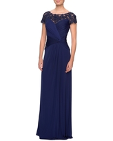 La Femme Illusion Yoke Twist Front Jersey Gown, Size 18 in Navy at Nordstrom