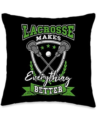 Vepa Fitness Gym Bodybuildung Yoga Sport Designs Lacrosse Makes Everything Better Cool Sports Motivation Gift Throw Pillow, 16x16, Multicolor