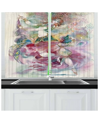 Watercolor 2 Piece Kitchen Curtain East Urban Home