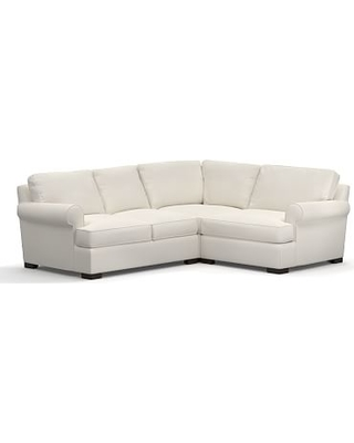 Townsend Roll Arm Upholstered Left Arm 3-Piece Corner Sectional, Polyester Wrapped Cushions, Denim Warm White