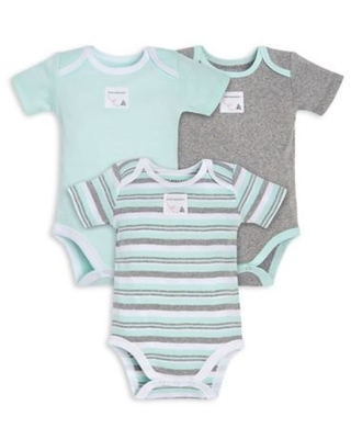 Burt's Bees Baby® Size 0-3M 3-Pack Sixties Stripe Organic Cotton Bodysuits in Mint/Grey
