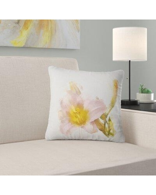 East Urban Home Floral Watercolor Lily w/ Color Splashes Pillow, Product Type: Throw Pillow, Polyester/Polyfill/Polyester/Polyester blend in Pink