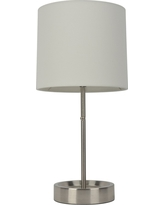 Stick Table Lamp Led With Single Outlet Plated Brushed Steel/White Shade, CA - Room Essentials