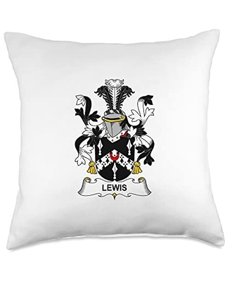 Family Crest and Coat of Arms clothes and gifts Lewis Coat of Arms - Family Crest Throw Pillow, 18x18, Multicolor