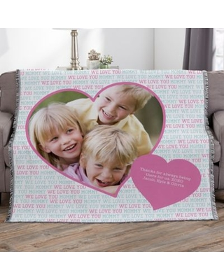 Love You This Much Personalized 56-Inch x 60-Inch Woven Photo Throw