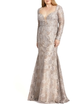 Mac Duggal Beaded Lace Long Sleeve Trumpet Gown, Size 18W in Mocha at Nordstrom