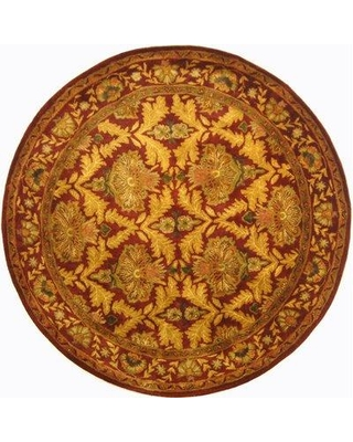 Charlton Home Dunbar Hand-Tufted Wool Wine / Gold Area Rug CHLH6231 Rug Size: Round 3'6""