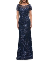La Femme Sequin Floral Short Sleeve Sheath Gown, Size 4 in Navy at Nordstrom