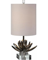 Uttermost Antiqued Metallic Silver Lotus Buffet Table Lamp