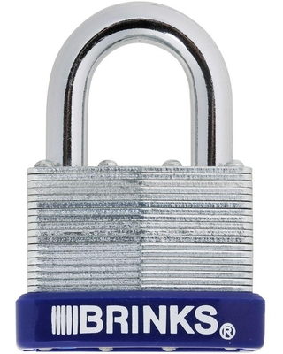 Brinks 2 in. (50 mm) Laminated Steel Padlock with Boron Shackle, Silver