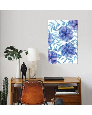 "East Urban Home 'Midnight Flowers I' Watercolor Painting Print on Wrapped Canvas ESUH7939 Size: 26"" H x 18"" W x 1.5"" D"