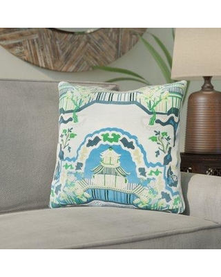 """Bloomsbury Market Maurice Silk Throw Pillow BBMT2694 Size: 22"""" H x 22"""" W x 4"""" D Color: Aqua Fill Material: Polyester"""