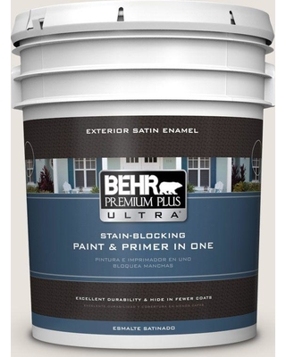 BEHR Premium Plus Ultra 5 gal. #OR-W13 Shoelace Satin Enamel Exterior Paint and Primer in One