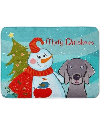 The Holiday Aisle Snowman with Weimaraner Memory Foam Bath Rug THLA5065