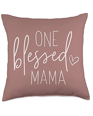 Lettered Grace Contemporary Christian Gifts One Blessed Mama - Cute Quote Sayings for Mom Dark Rose Tan Throw Pillow, 18x18, Multicolor