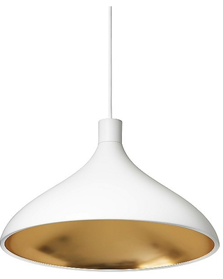 Swell Wide Pendant Light by Pablo Lighting - Color: White - Finish: Matte - (SWEL WID WHT/BRA)