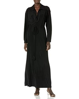 Taylor Dresses Women's Long Sleeve V-Neck Solid Jersey Maxi Dress with Lace and Tie Waist, Black, 12-13