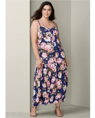 """Plus Size Button Front Maxi Dress Dresses - Blue/multi"""