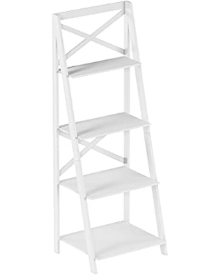 4 Shelf Ladder Bookshelf - Free Standing Tiered Bookcase, X Back Frame and Leaning Look Decorative Shelves for Home and Office by Lavish Home (White)