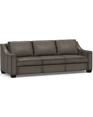 """York Slope Arm Leather Grand Sofa 95"""" with Bench Cushion, Polyester Wrapped Cushions, Burnished Wolf Gray"""