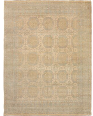 """One-of-a-Kind Ajnag Hand-Knotted 2010s Ushak Beige 7'10"""" x 10'2"""" Wool Area Rug Bloomsbury Market"""