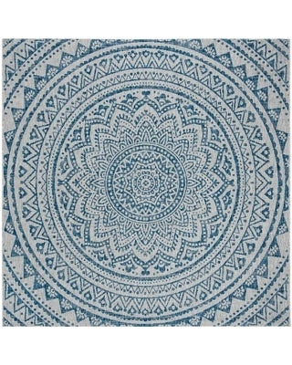 "Safavieh Courtyard Fran Mandala Indoor/ Outdoor Rug (6'7"" x 6'7"" Square - Light Grey/Blue)"