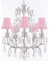 House of Hampton Molinaro 5 - Light Shaded Tiered Chandelier with Wrought Iron Accents INQU5198 Shade Color: Pink