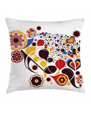 Floral Motifs Hearts Music Indoor / Outdoor Throw Pillow Cover