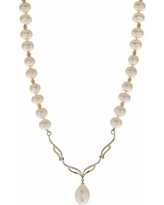 PearLustre by Imperial 14k Gold Over Silver Freshwater Cultured Pearl & White Topaz Necklace, Women's, Size: 18""