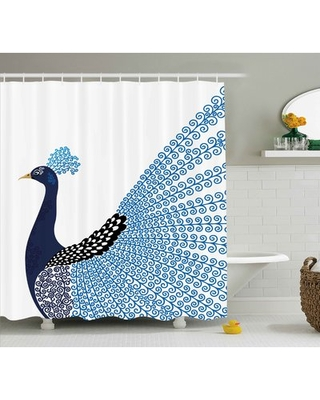 "Kellie Animal Exotic Wild Magnificent Bird With Feather Peacock Modern Image Artwork Single Shower Curtain Ebern Designs Size: 69"" W x 84"" H"