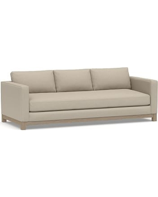 "Jake Upholstered Grand Sofa 95"" with Wood Legs, Polyester Wrapped Cushions, Brushed Crossweave Natural"