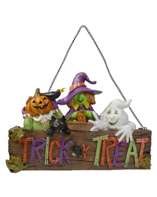 """13.5"""" Trick or Treat Halloween Pumpkin Ghost and Witch Wall Decoration"""
