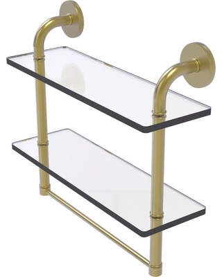 Allied Brass Remi Collection 16 in. 2-Tiered Glass Shelf with Integrated Towel Bar in Satin Brass