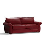 """Pearce Leather Grand Sofa 90"""", Down Blend Wrapped Cushions, Leather Signature Berry Red"""