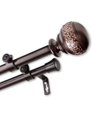 InStyleDesign Nadine Adjustable Double Curtain Rod (48-84 inch - Cocoa)