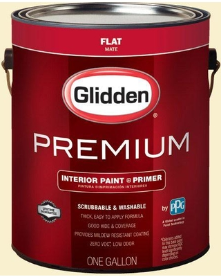 Glidden Premium 1 gal. #HDGY30 Candlelight Yellow Flat Interior Paint with Primer