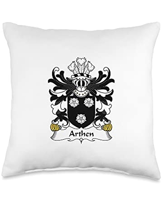 Family Crest and Coat of Arms clothes and gifts Arthen Coat of Arms - Family Crest Throw Pillow, 16x16, Multicolor