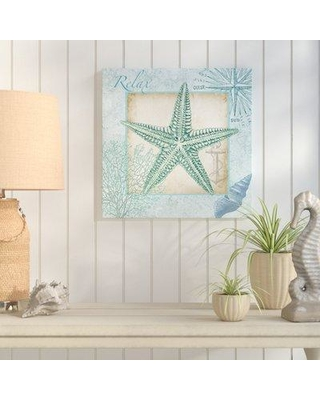 """Highland Dunes 'Aqua Shell: Starfish' Graphic Art Print on Wrapped Canvas HLDS6728 Size: 48"""" H x 48"""" W"""
