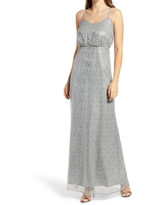 Women's Chi Chi London Sequined Maxi Gown, Size 10 - Blue