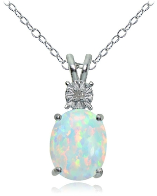 Glitzy Rocks Sterling Silver Created White Opal and Diamond Accent Oval Necklace - Silver/White (Created Opal)