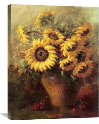 """Global Gallery 'Maria's Sunflowers' by Walt Painting Print on Wrapped Canvas GCS-125960 Size: 24"""" H x 18"""" W x 1.5"""" D"""