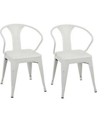 Austin Collection DC-WCOVCR2 Set of 2 Waco Dining Chairs with Wide Armrests Curved Backrest Industrial Style Tapered Legs and Metal Frame