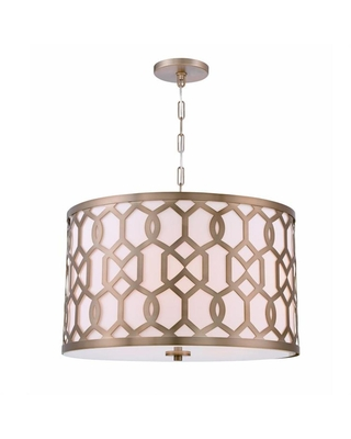 Crystorama Jennings 5-Light Aged Brass Shaded Chandelier with Silk Shade